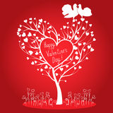Greeting card with tree and doves. Greeting card with tree of hearts and doves Stock Photo