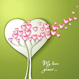 Greeting Card with tree and flowers. Heart shaped Royalty Free Stock Photo