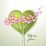 Greeting Card with tree and flowers. Heart shaped Stock Image