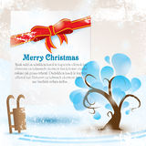Greeting card with tree and Merry Christmas lettering for your text. Vector illustration with snow grunge Stock Images