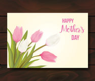 Greeting card with tulip flowers Stock Image
