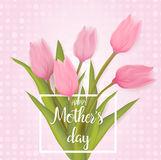 Greeting card with tulip flowers Royalty Free Stock Images