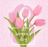 Greeting card with tulip flowers. Women`s day, 8 march greeting card with tulip flowers. With typography greeting message. Vector illustration Royalty Free Stock Photography