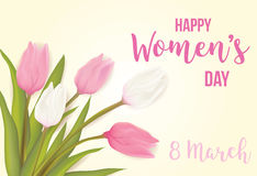 Greeting card with tulip flowers. Women`s day, 8 march greeting card with tulip flowers. With typography greeting message. Vector illustration Stock Photo