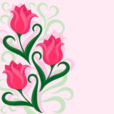 Greeting card with tulips flowers. Beautiful floral background with tulips flowers. Colorful vector illustration stock illustration