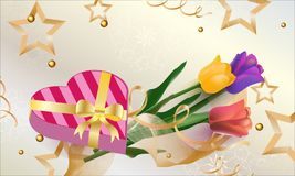 Greeting card tulips with gifts and stars.Vector. Flowers royalty free illustration