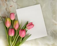 Greeting card with tulips. Greeting card, bouquet of beautiful flowers, spring tulips on a marble background stock photography