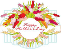 Greeting card with tulips Mother's Day Royalty Free Stock Image