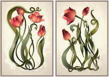 Greeting card with tulips. Stock Photography
