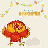 Greeting card with Turkey Bird for Thanksgiving Day. Stock Image