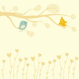 Greeting card with two birds on the  tree Stock Photo