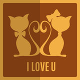 Greeting card with two cats Royalty Free Stock Photo