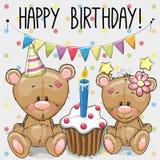 Greeting card two cute Cartoon Bears. Greeting card two cute Cartoon Teddy Bears with cake Stock Image