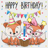 Greeting card two cute Cartoon Foxes vector illustration