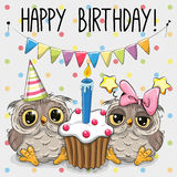 Greeting card two cute Cartoon Owl Royalty Free Stock Photography