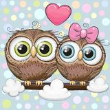 Greeting card with Two cute Cartoon Owls. On a branch vector illustration