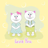 Greeting card with two cute cats on a green background. Vector illustration in cartoon style Royalty Free Stock Photo