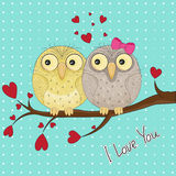 Greeting card with two cute owls in love sitting on branch. Valentine`s day design. Royalty Free Stock Photos