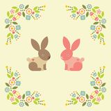 Valentine s day greeting card. Symbol of love. Vector illustration. Greeting card with two cute rabbits. Symbol of love. Vector illustration flat design royalty free illustration