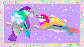 Greeting card with two happy birds. Royalty Free Stock Images