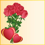 Greeting card with two hearts and red roses Royalty Free Stock Photography