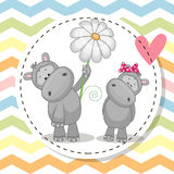Greeting card with two Hippos Royalty Free Stock Images
