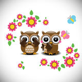 Greeting card with two lovely owls Royalty Free Stock Photo