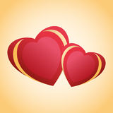 Greeting card with two red - golden hearts Royalty Free Stock Image