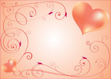 Greeting card with two red hearts Royalty Free Stock Images