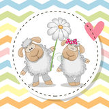 Greeting card with two Sheep Royalty Free Stock Photography