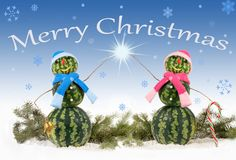 Greeting card with two watermelon Snowman on blue background and falling snowflakes. Card with two watermelon Snowman on blue background and falling snowflakes royalty free stock image