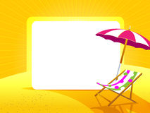 Greeting card with umbrella and chair on a yellow background. And white space for text Stock Images