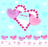 Greeting card. Valentine card with birds and lettering For You. Vector illustration Royalty Free Stock Photography