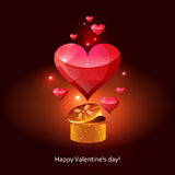 Greeting card-Valentine. Card with colorful hearts flying out of gift box Stock Image