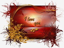 Greeting Card Valentine's Day. With flowers, rose and hearts Stock Images