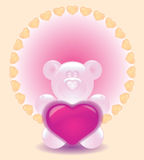Greeting Card Valentine's Day. Bear, of giving the heart of love stock illustration