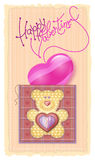 Greeting Card Valentine's Day. Merry embroidered teddy bear with a heart on his chest stock illustration