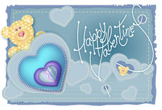 Greeting Card Valentine's Day. Merry embroidered teddy bear with a heart on his chest vector illustration
