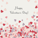 Greeting card  Valentine's day. Greeting card  horizontal with hearts at the bottom of Valentine's day. a Valentine's day gift Stock Photos