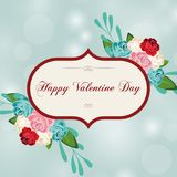 Greeting card for Valentine`s Day in a beautiful frame. Royalty Free Stock Photo