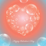 Greeting card on the Valentine's day with brilliant heart Royalty Free Stock Photos