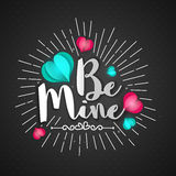 Greeting Card for Valentine`s Day celebration. Be Mine lettering design on creative hearts decorated background for Happy Valentine`s Day celebration Royalty Free Stock Photos