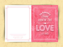 Greeting card for Valentine's Day celebration. Stock Image