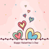 Greeting card for Valentine's Day celebration. Colorful creative hearts decorated beautiful greeting card design for Happy Valentine's Day celebration Royalty Free Stock Photos