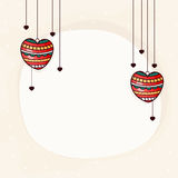 Greeting card for Valentine's Day celebration. Colorful hanging hearts decorated greeting card for Happy Valentine's Day celebration Royalty Free Stock Photos