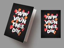 Greeting Card for Valentine`s Day celebration. Elegant Greeting Card design with Creative Text Valentine`s Day and Glossy Hearts decoration Royalty Free Stock Photo