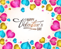 Greeting Card for Valentine`s Day celebration. Elegant greeting card design with glossy paper cut out hearts decoration for Happy Valentine`s Day celebration Stock Photo