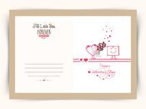 Greeting card for Valentine's Day celebration. Stock Image