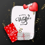 Greeting Card for Valentine`s Day celebration. Elegant Greeting Card design with wrapped gift boxes and glossy hearts for Happy Valentine`s Day celebration Royalty Free Stock Photography