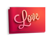 Greeting card for Valentine's Day celebration. Glossy elegant greeting card design with 3D stylish text Love for Happy Valentine's Day celebration Stock Photo